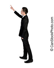 Business man pointing something - Isolated business man...