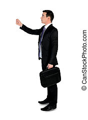 Business man holding something - Isolated business man...