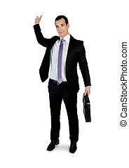 Business man pointing back - Isolated business man pointing...