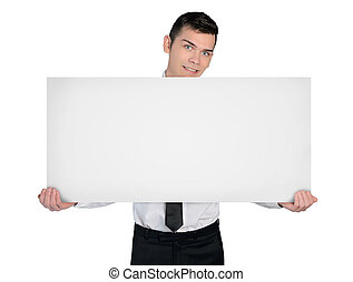 Business man with empty board