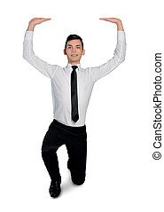 Business man lifting something - Isolated business man...