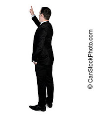 Business man pointing up - Isolated business man pointing up