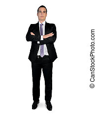 Business man looking camera - Isolated business man looking...