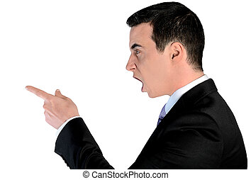 Business man angry pointing - Isolated business man angry...