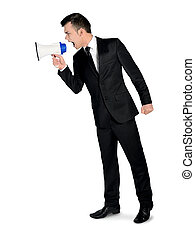 Business man with loudspeaker - Isolated business man with...