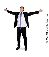 Business man arms up - Isolated business man arms up