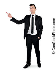Business man pointing side - Isolated business man pointing...