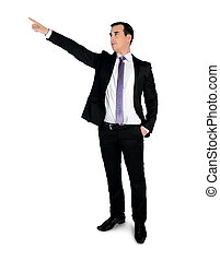 Business man pointing corner - Isolated business man...