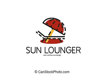 Color line icon for flat design Sun lounger - Color line...