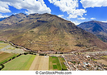 Village of Pisac and Urubamba River - Bird?s eye view of...