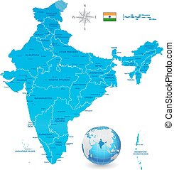 India Vector Map Set with 3D globe - A High Detail vector...