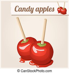Detailed Icon. Candy apples. Cartoon vector illustration