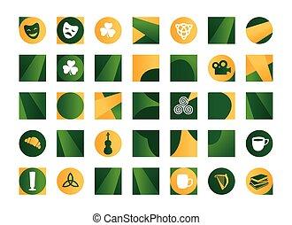 Irish symbols - Illustration of orange and green Irish...
