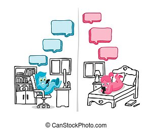 Text message conversation - Illustration of text message...