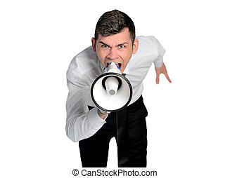 Business man angry shouting - Isolated business man angry...