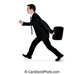 Business man running side - Isolated business man running...