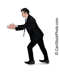 Business man carry something - Isolated business man carry...