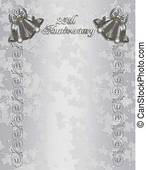 25th Wedding Anniversary Invitation - Illustration embossed...