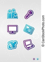 Media icons - Illustration of two colors icons of media...
