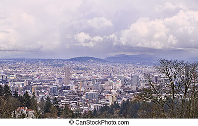 Vista of Portland Oregon with Stormy Sky - View of Portland,...