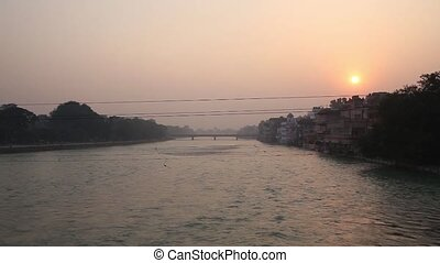 view of holy ghats - A view of holy ghats of Varanasi with a...
