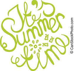 Lettering element in on white background - Green summer...