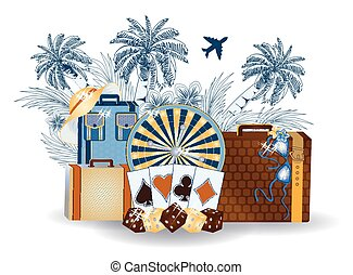 Casino summer tropical background, vector illustration