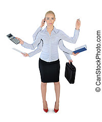 Business woman multi tasking - Isolated business woman multi...