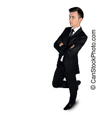 Business man thinking solution - Isolated business man...