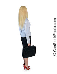 Business woman looking back - Isolated business woman...