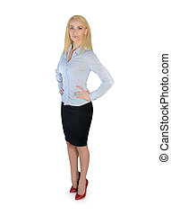 Business woman looking side - Isolated business woman...