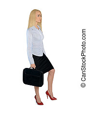 Business woman step up - Isolated business woman step up