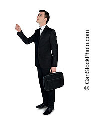 Business man drag something - Isolated business man drag...