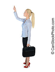 Business woman drag something - Isolated business woman drag...