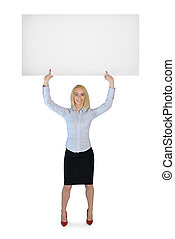 Business woman presenting empty banner