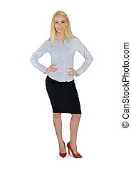 Business woman looking camera - Isolated business woman...