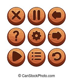 Wooden Menu Buttons - Vector Illustration of a Set of Wooden...