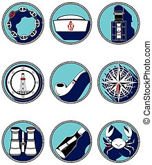 Nautical elements IV icons in circl - Nautical elements IV...