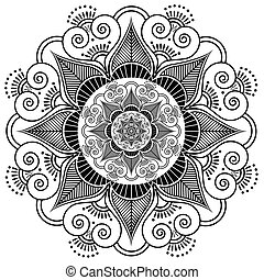 Indian henna tattoo flower pattern.