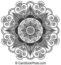 Indian henna tattoo flower pattern.