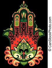 Hamsa - Vector Indian hand drawn hamsa with ethnic ornaments