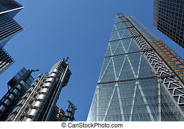 122 Leadenhall Street tower and Lloyd's building in City of...