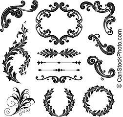 Floral Ornament Set - Ornamental scrolls, text dividers,...