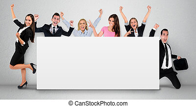 Empty banner with people - Empty banner with six people