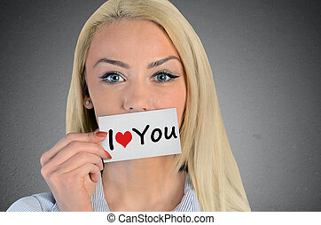 Woman holding card with I love you word - Beautiful woman...