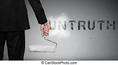 Untruth word painting on wall - Untruth word painting on...