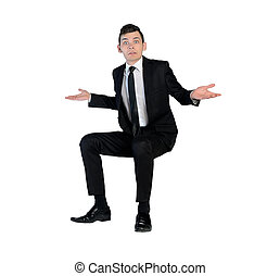 Business man confused expression - Isolated business man...