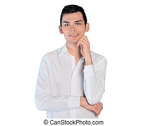 Young man looking camera - Isolated young man looking camera