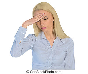 Business woman headache closeup - Isolated business woman...