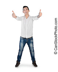 Young man showing ok sign - Isolated young man showing ok...